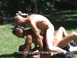 muscle,outdoors,penetration,double,threesome